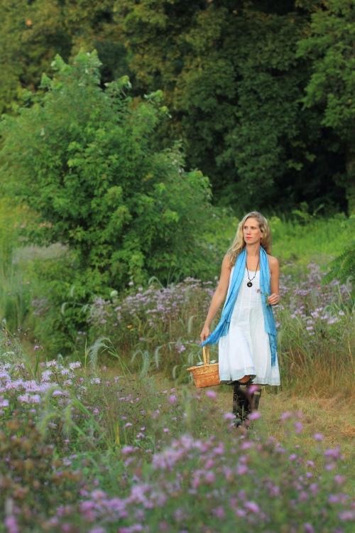 Lisa M. Rose in a field of wildflowers in Millineum Park.